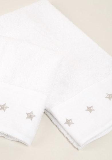 Coppia di spugne in cotone ricamo stella grigia