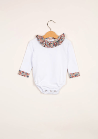 Body neonata con colletto volant liberty
