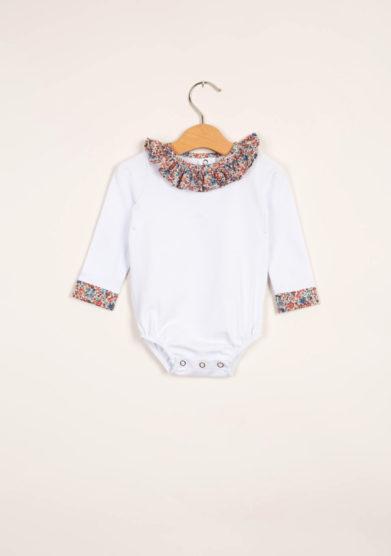 Body neonata con colletto volant liberty