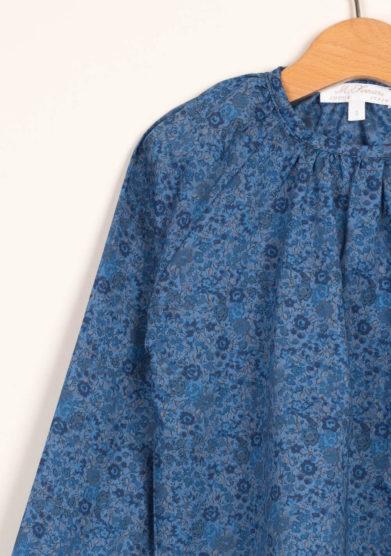 Blusa liberty blu in cotone