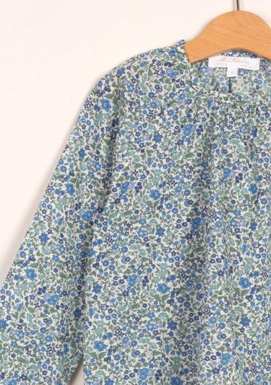 Blusa liberty azzurro in cotone