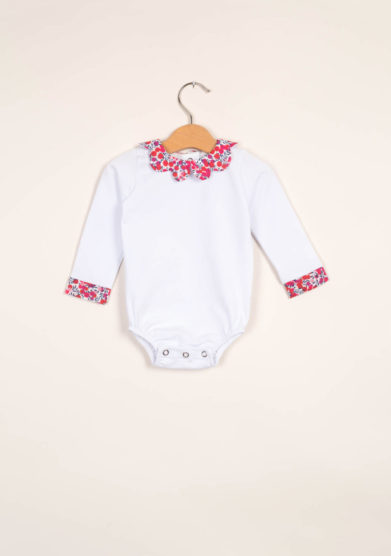 Body neonata con colletto a petalo liberty