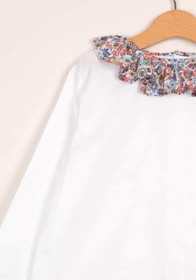 Blusa bambina in cotone con colletto volant liberty