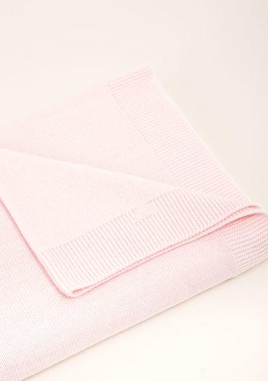 Coperta culla in cotone tricot rosa
