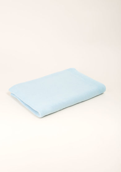 Coperta culla in cotone tricot azzurro