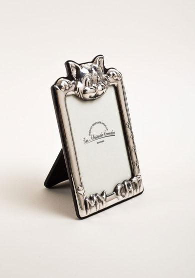 Cornice portafoto in argento con gatto