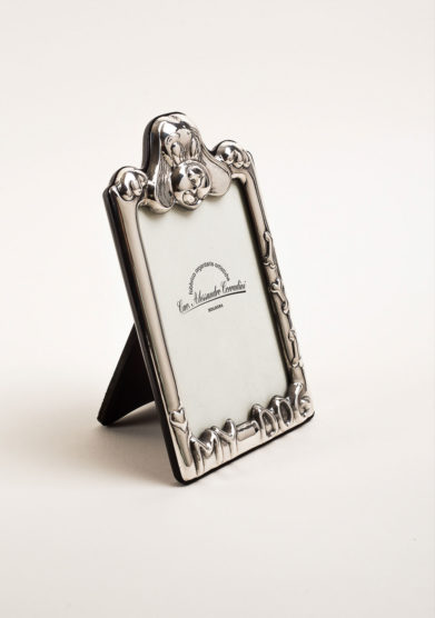 Cornice portafoto in argento con cane