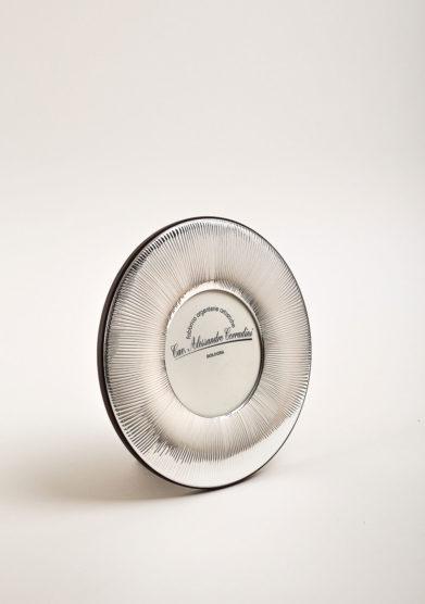 Cornice portafoto in argento tonda a fascia rigata