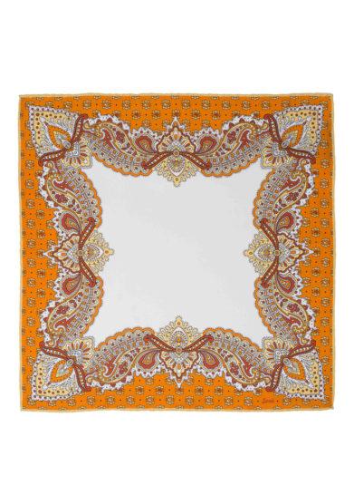 Foulard in seta con stampa paisley arancione