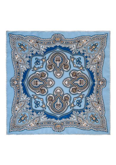 Foulard in seta con stampa paisley azzurra