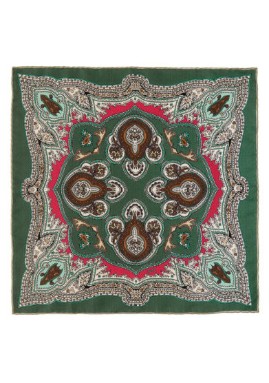 Foulard in seta con stampa paisley verde