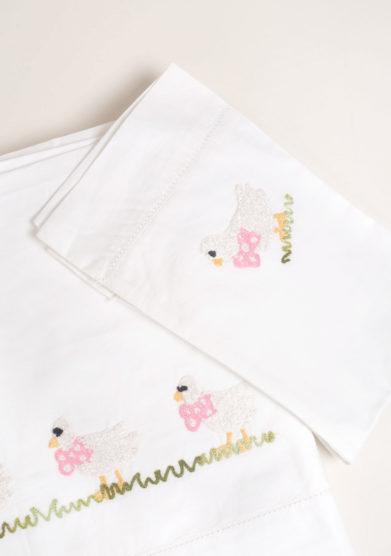 Set lenzuola 3 pezzi in cotone ricamo paperella rosa