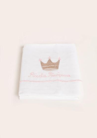 Set lenzuola 3 pezzi in cotone ricamo piccola principessa