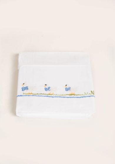 BUSATTI - Set lenzuola 3 pezzi in cotone ricamo paperella azzurra