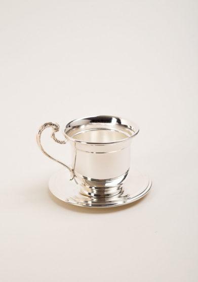 Set bicchiere e piattino bambino in trilaminato d'argento