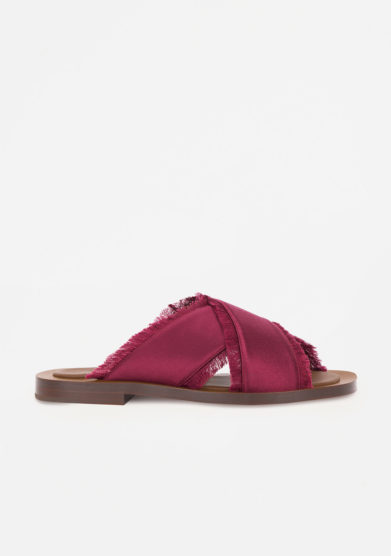 AMBLÊME - Madrague sandals in burgundy silk satin