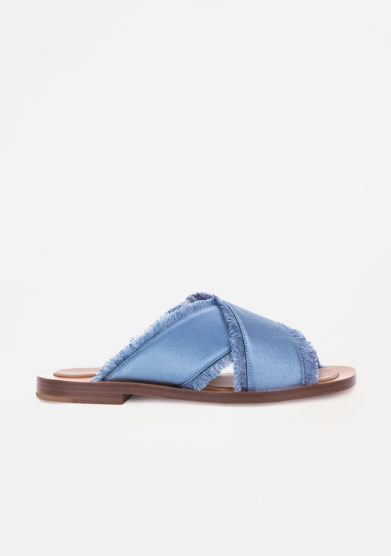 AMBLEME - Madrague sandals in Capri blue silk satin