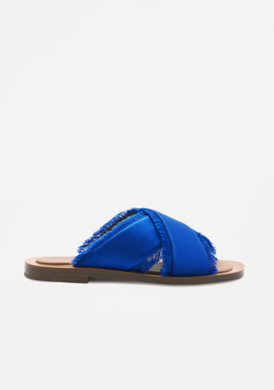 AMBLEME - Madrague sandals in Mediterraneo blue silk satin