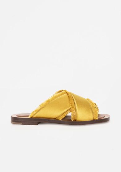 AMBLÊME - Madrague sandals in mustard silk satin