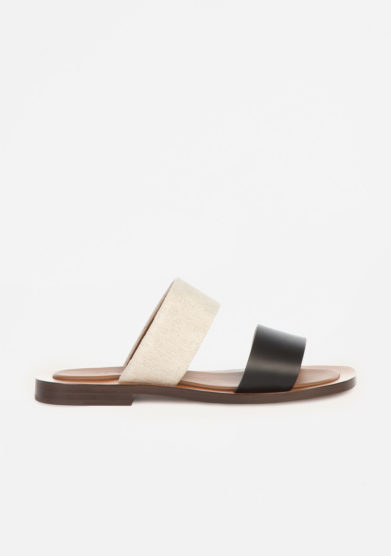 AMBLEME - Ugalde double-Band sandals in leather and linen