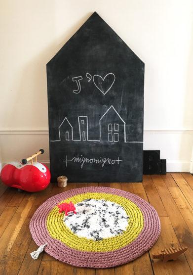 Tappeto tondo fluffy dalmatier in cotone riciclato