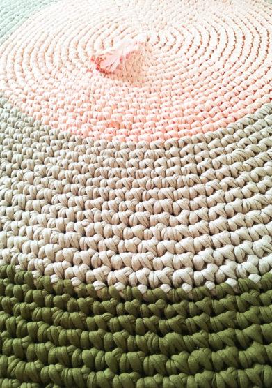 Tappeto tondo green mustard in cotone riciclato