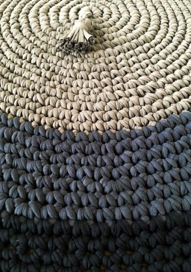 Tappeto tondo fake black in cotone riciclato
