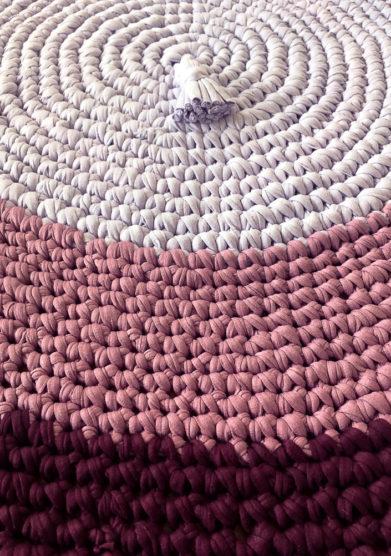Tappeto tondo rosie blush in cotone riciclato