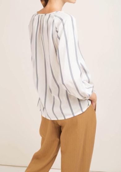 Blusa a righe in seta