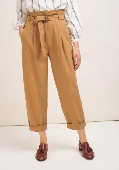 Pantaloni in misto lana beige