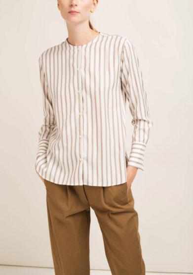 Camicia a righe in seta