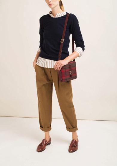 Pantaloni cropped in cotone marrone