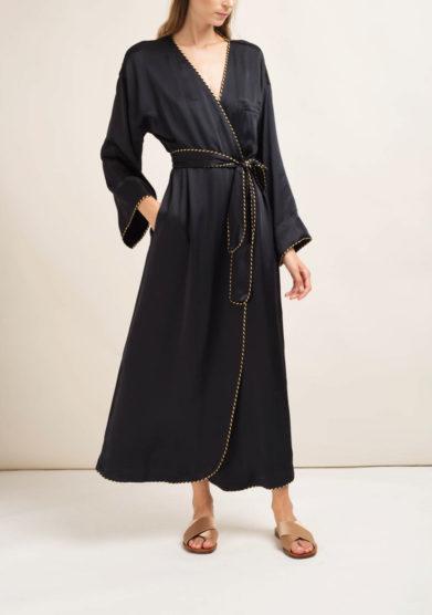 Kimono in misto seta nero