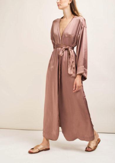 Kimono in misto seta rosa antico