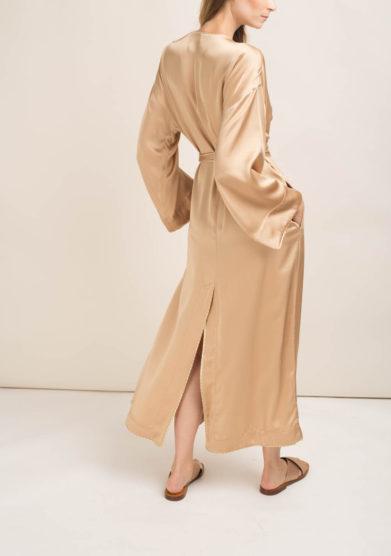 Kimono in misto seta champagne