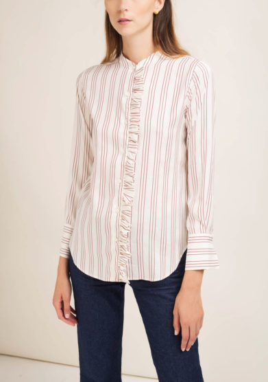 Camicia a righe in seta con rouches