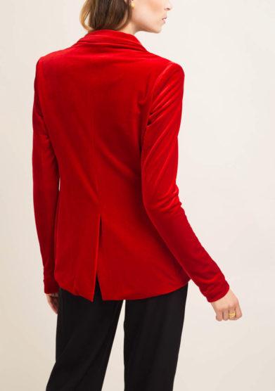 Blazer sartoriale in velluto rosso