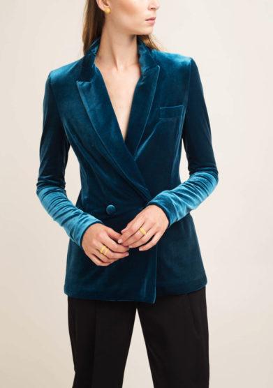 Blazer sartoriale in velluto blu