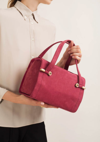 Borsa bauletto in pelle bordeaux