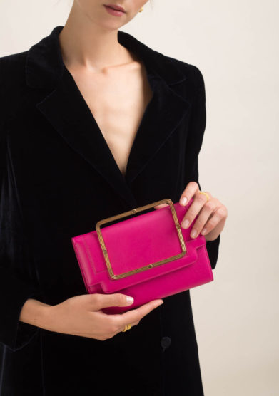 Clutch in pelle fucsia