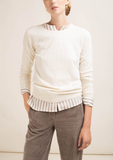 Pullover in cashmere bianco