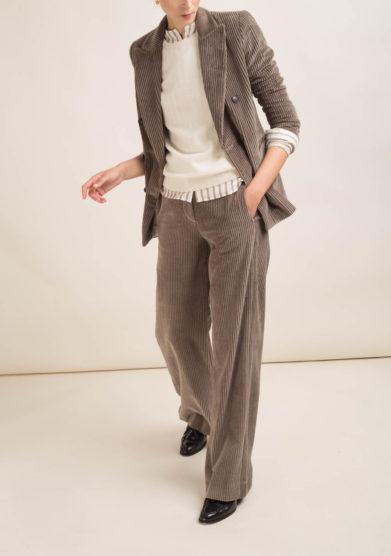 Pantalone in velluto a coste grigio