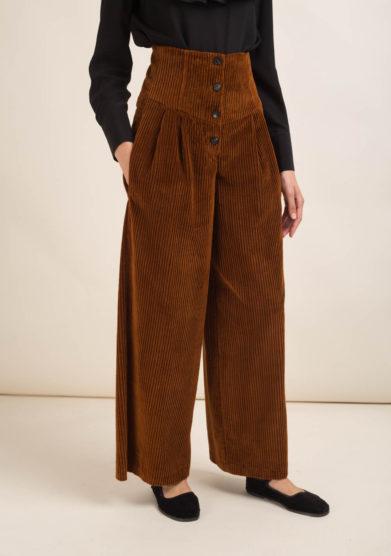 Pantaloni a palazzo in velluto a coste marrone
