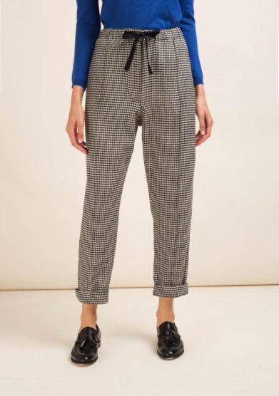 Pantaloni in lana pied-de-poule