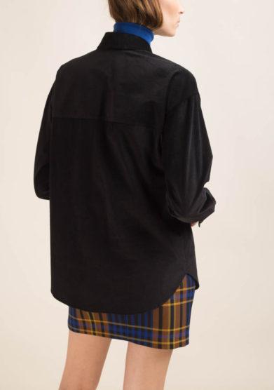 Camicia in velluto a coste nero