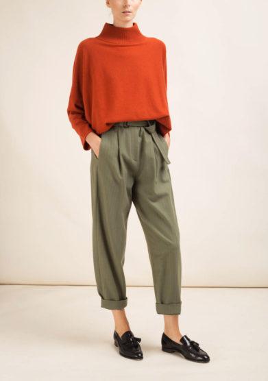 Pantaloni in misto lana kaki