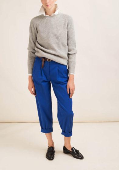 Pantaloni cropped in cotone blu