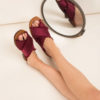 Sandali in raso bordeaux