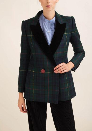 Blazer a quadri in twill di lana
