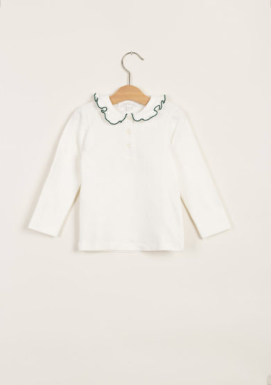 T-shirt in cotone con collo volant